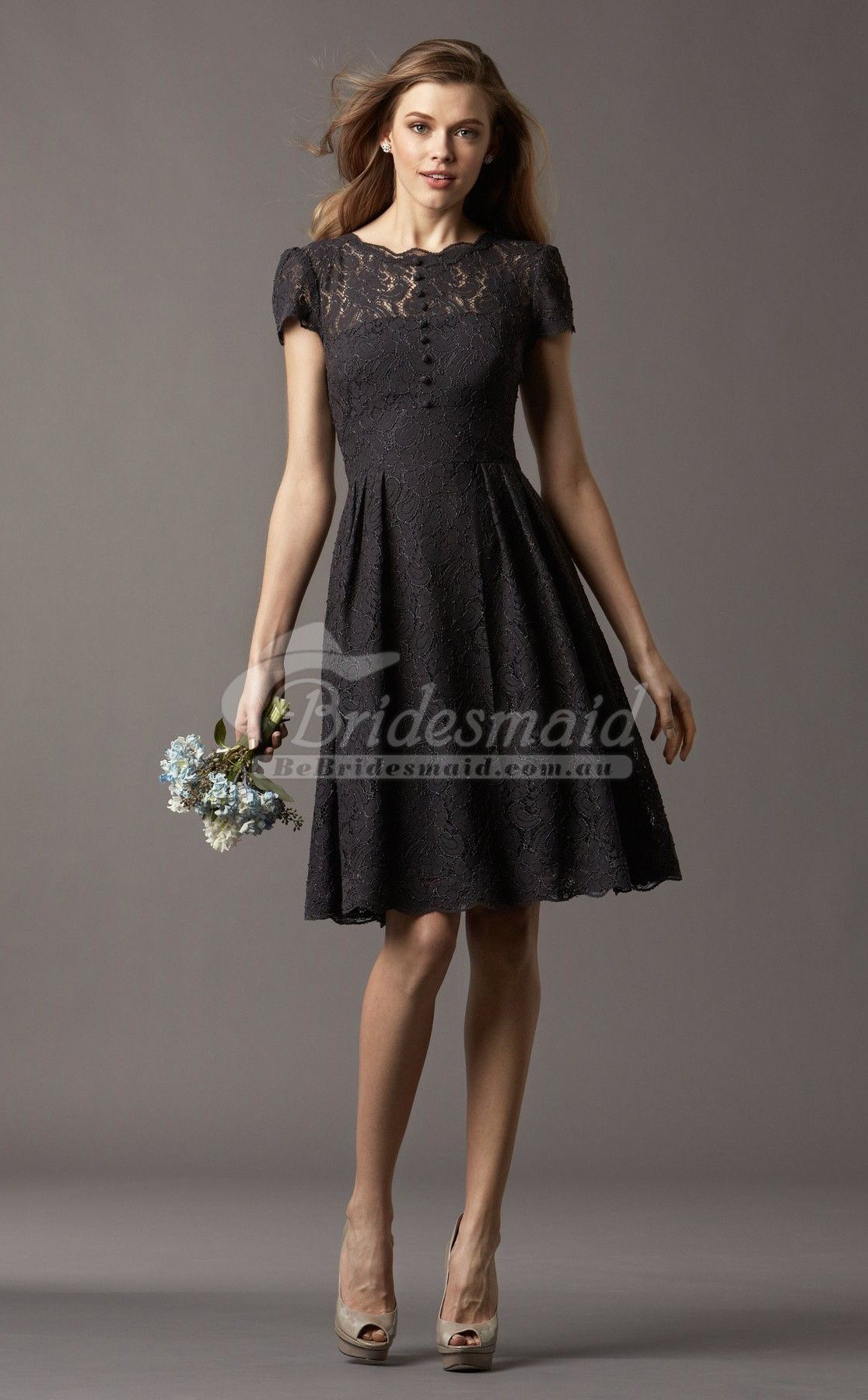 Black Knee Length Bridesmaid Dresses