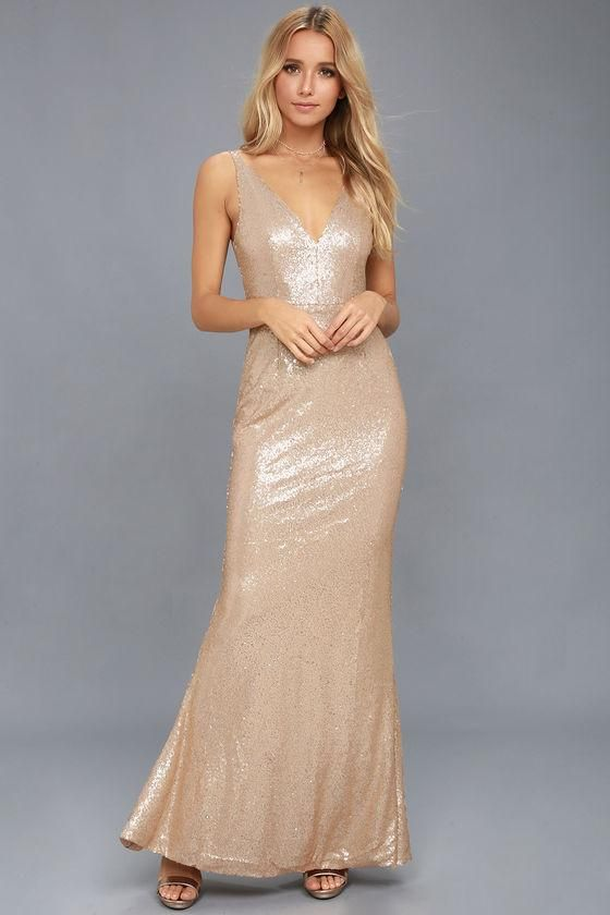 Lulus -  Lulus Here to Wow Matte Rose Gold Sequin Maxi Dress - AdoreWe.com 43f29696d