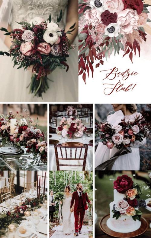 Zaproszenia Slubne Z Nuta Bordo Z Kwiatami W Kolorach Bordo I Pasteli Z Motywem Piwonii Trawa Pampasowych Wedding Bouquets Wedding Decorations Boho Wedding