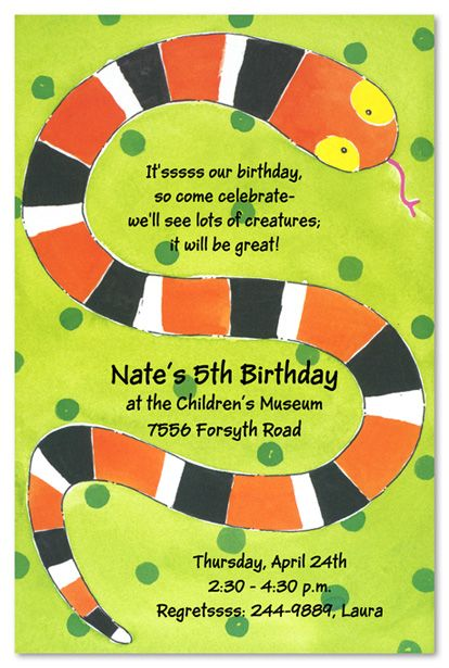 snakebirthdaypartyideas Kids Birthday Invitations Girls Boys