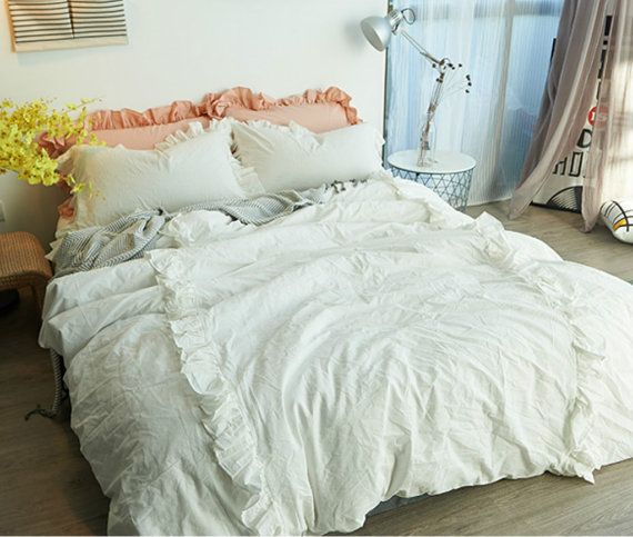 white ruffle duvet cover set pima cotton 300tc sateen weave duvet cover set luxury cotton duvet cover set shabby chic bedding