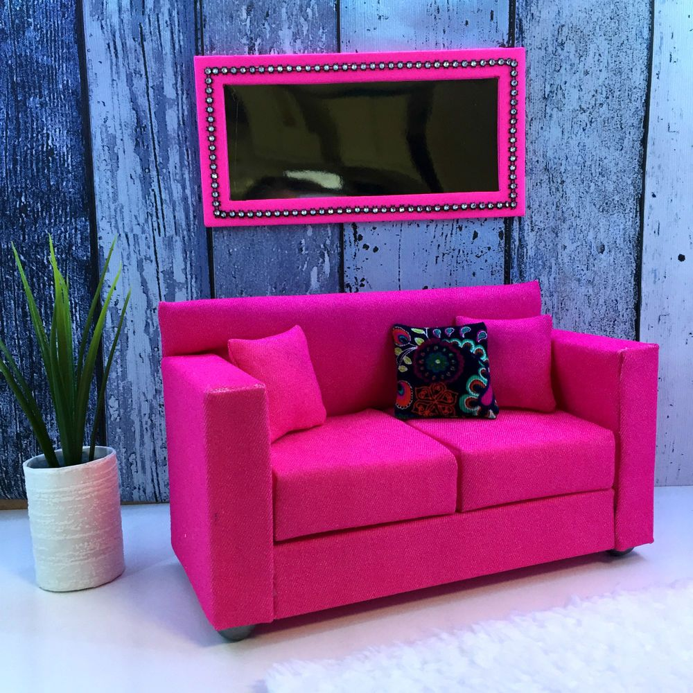 pinkrosemh couch m bel f r barbie haus puppenstube monster. Black Bedroom Furniture Sets. Home Design Ideas