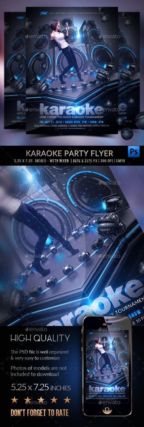 Blue Club Dark Event Flyer Glowing Karaoke Karaoke Flyer