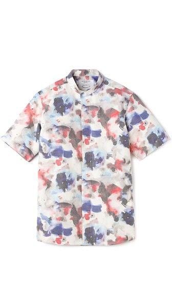 Watercolor Print Banded Collar Shirt Banded Collar Shirts