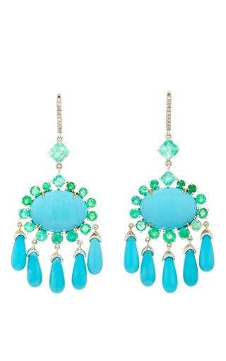 18k white gold emerald and turquoise chandelier earrings by NINA ...