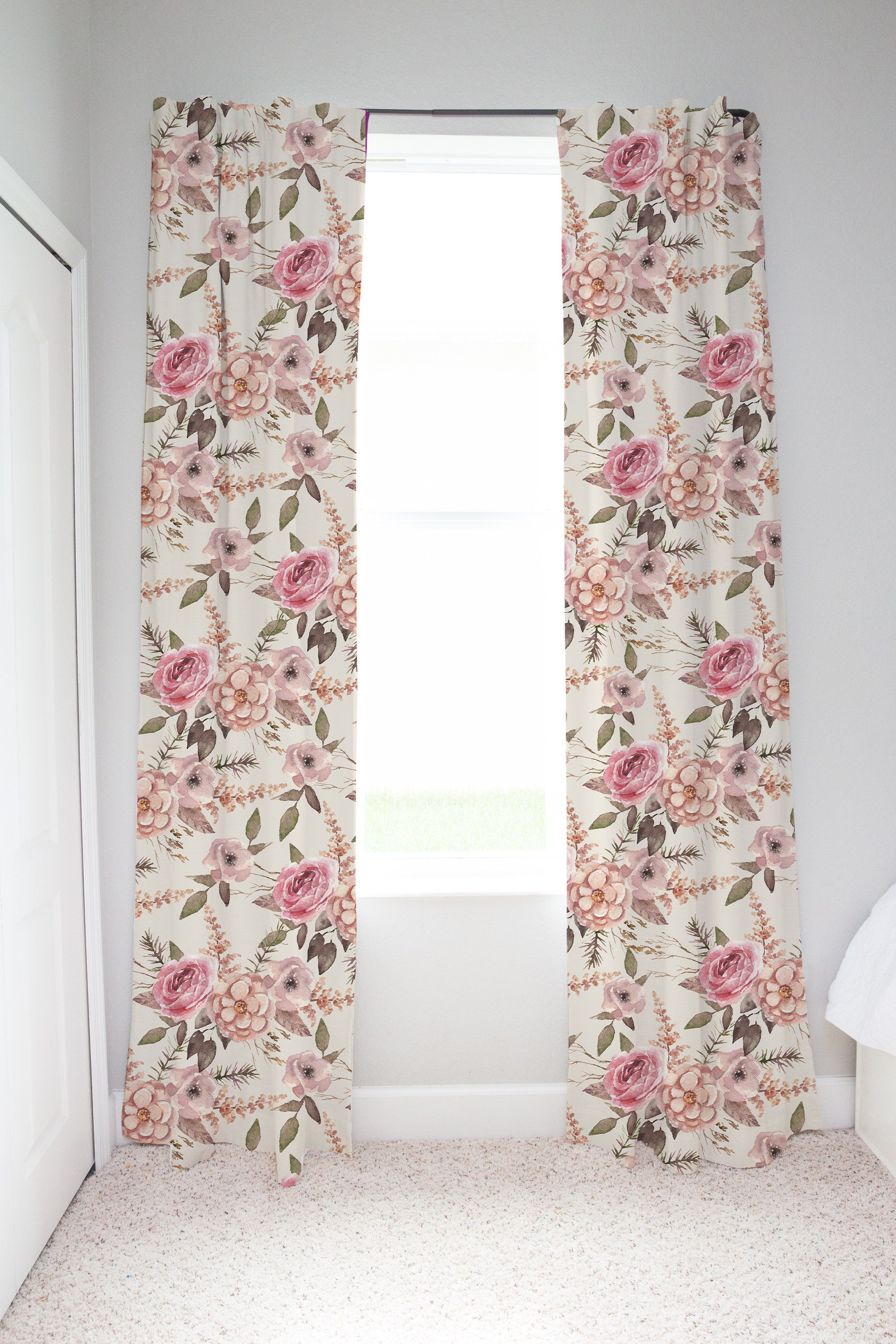 Rose Floral Curtains Floral Curtain Panels Girl Room Curtains