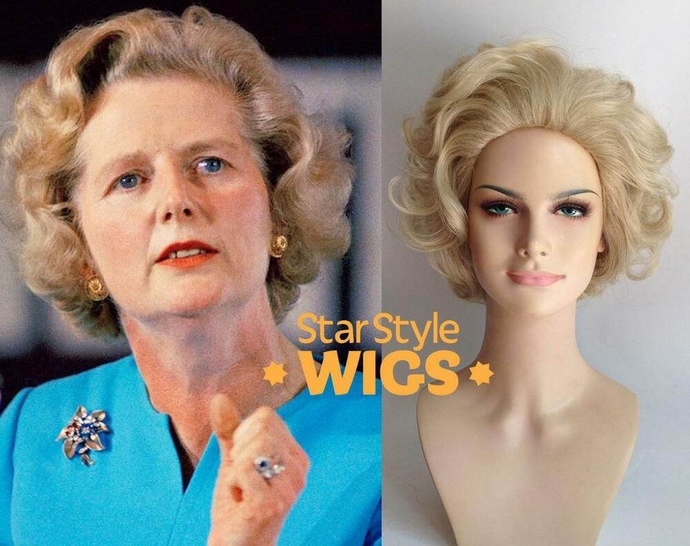 Deluxe Margaret Thatcher Blonde Old Lady Granny Grandma Short Curly Costume Wig Ebay Wigs Costume Wigs Blonde