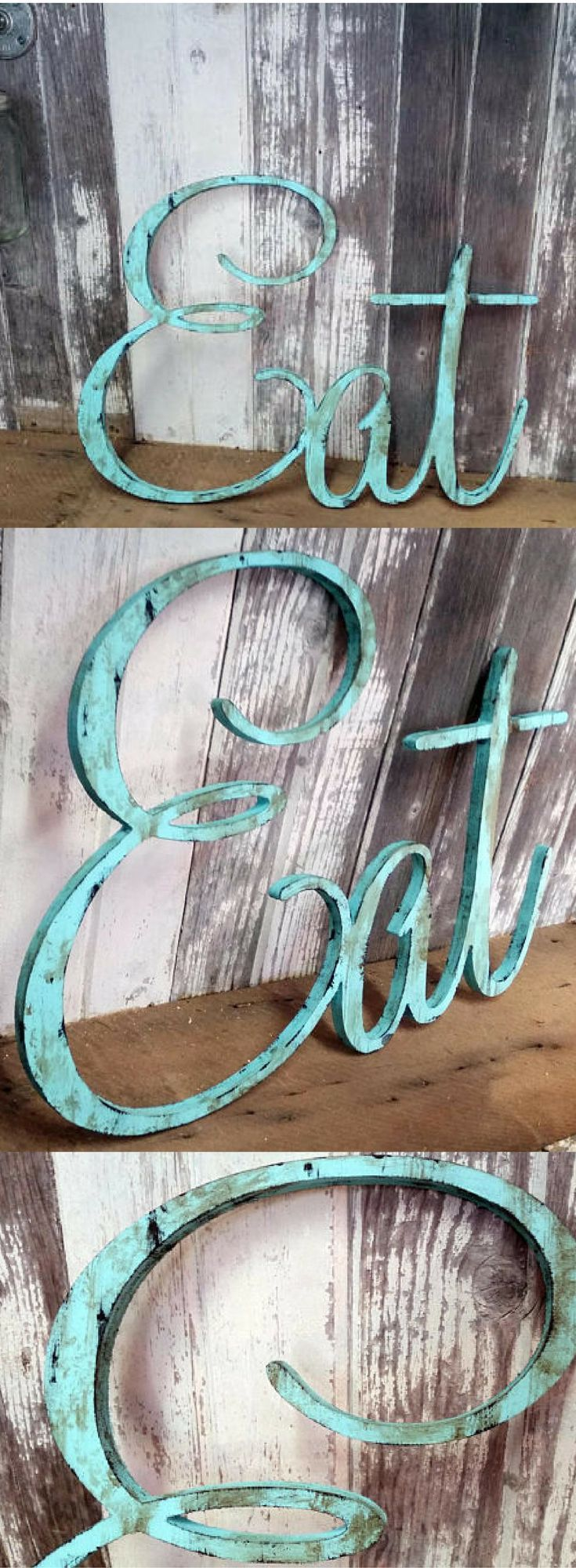 Distressed Metal Kitchen Sign, EAT Sign for Kitchen Sign Rustic Eat ...