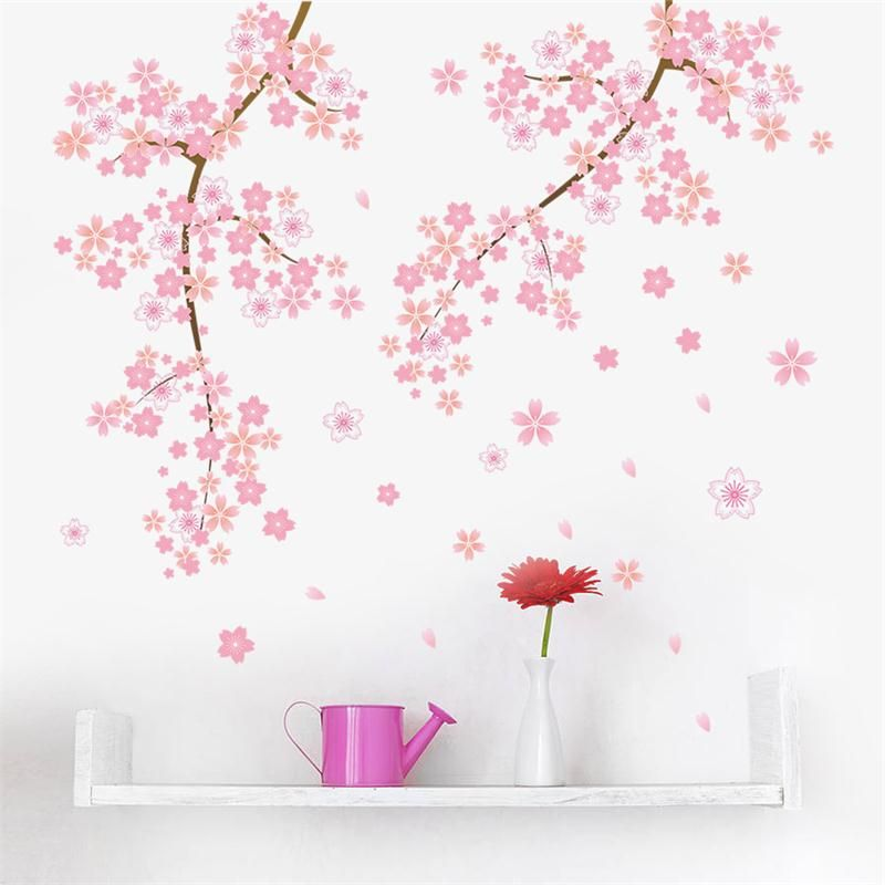 Cherry Blossoms Pink Flower Tree Branch Wall Decal Walling Shop Wall Stickers Girl Bedroom Modern Wall Decals Cherry Blossom Bedroom