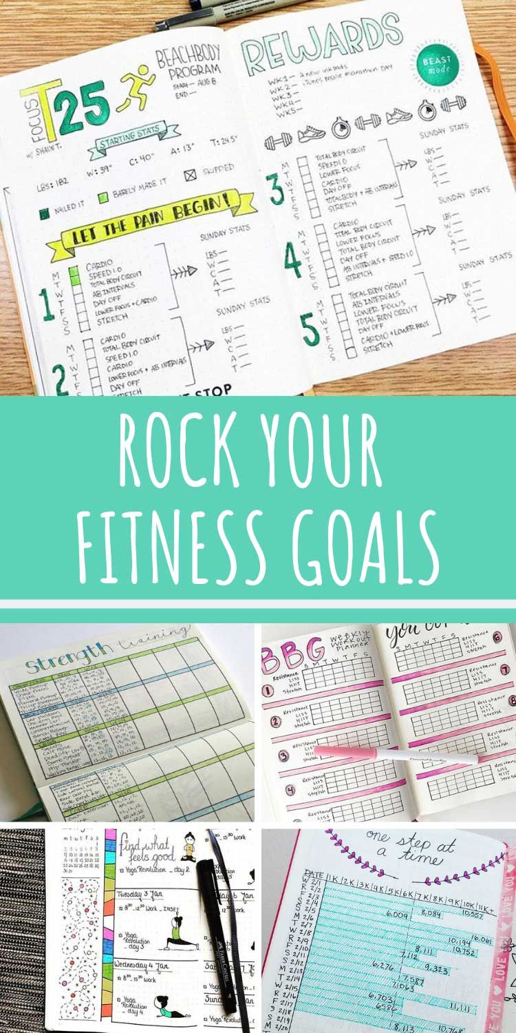 Bullet Journal Fitness Trackers (Finally get fit in 2020!} -   16 fitness Journal printable ideas