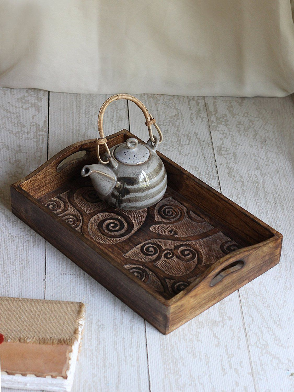 """""""Tree of Life"""" Hand Carved Wooden Breakfast Serving Tray"""