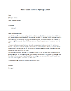 Hotel Guest Services Apology Letter DOWNLOAD at httpwriteletter2