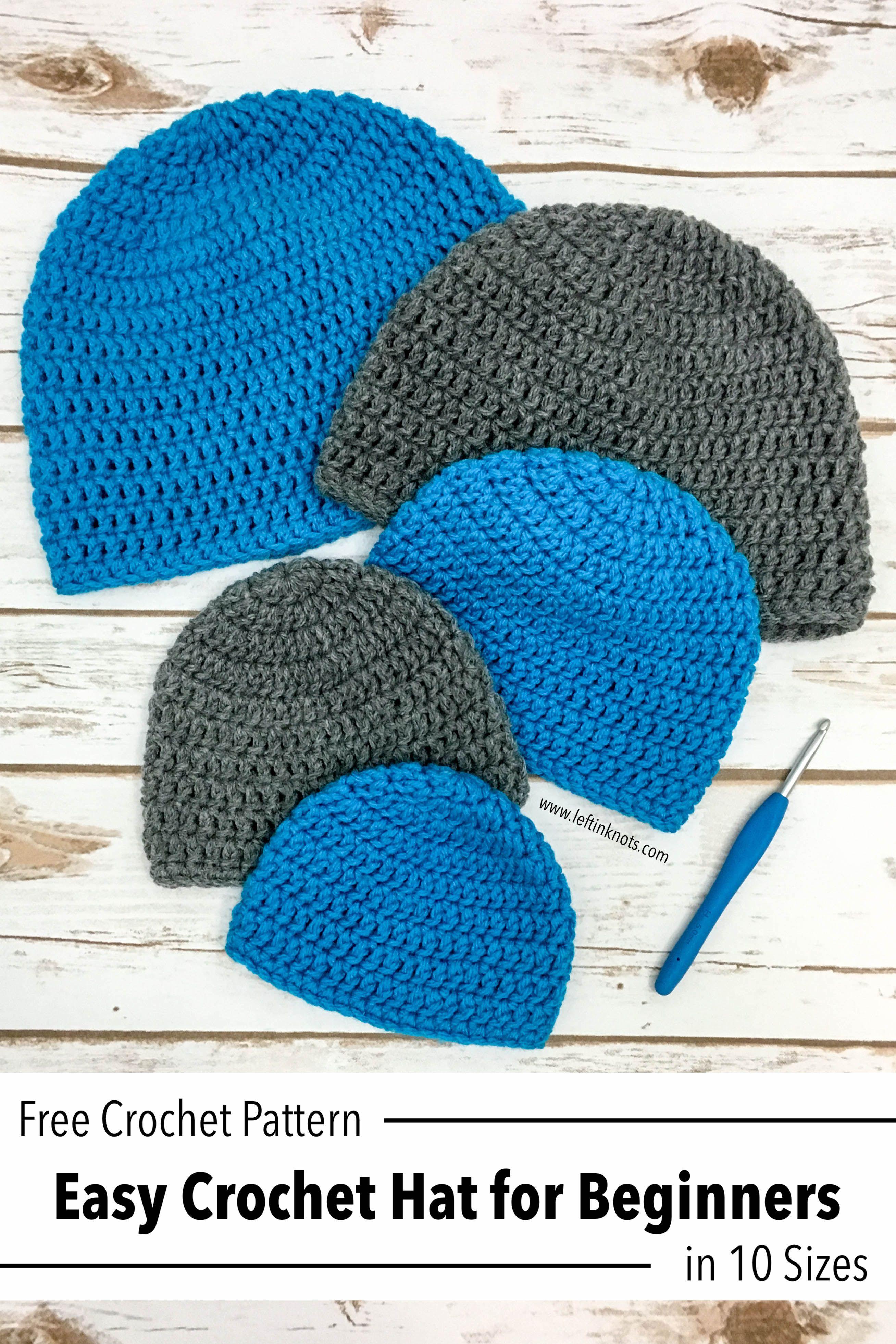 Double crochet hat in 10 sizes free pattern for