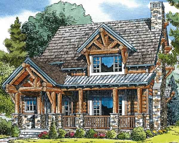 Awesome rustic log home (with chinking!) that has open floorplan ...