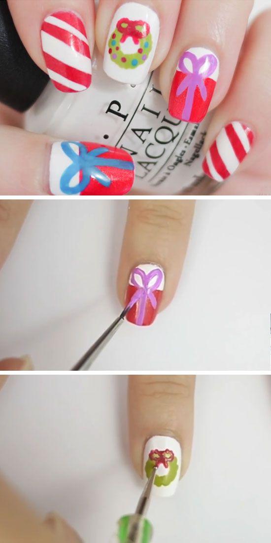 Bows & Wreaths | DIY Holiday Nail Art Ideas for Winter | nails and ...