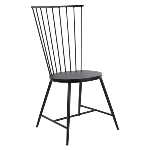 Beckman Metal Windsor Back Side Chair In Black Metal Dining