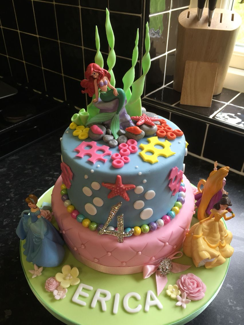 Ariel The Little Mermaid And Disney Princess Birthday Cake Lolos