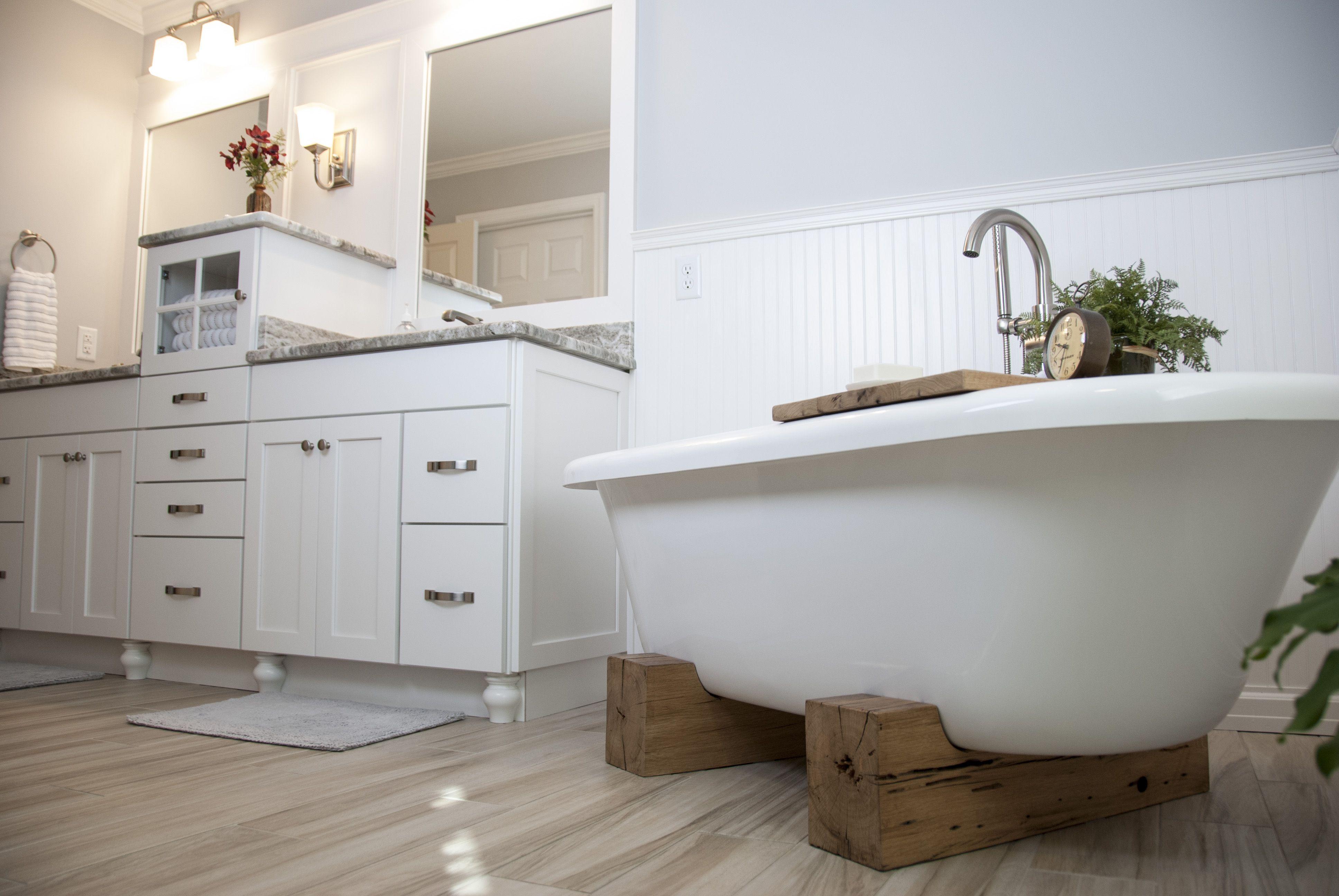 Rustic bathroom, grey and white master bath, wood tub legs, white ...