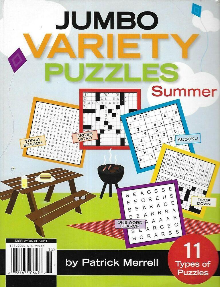 Jumbo variety puzzles magazine crossword word search grid