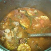 Chicken Cajun Smoked Sausage Stew......fall is around the corner,,,get ready with something hearty/hot and cajun.