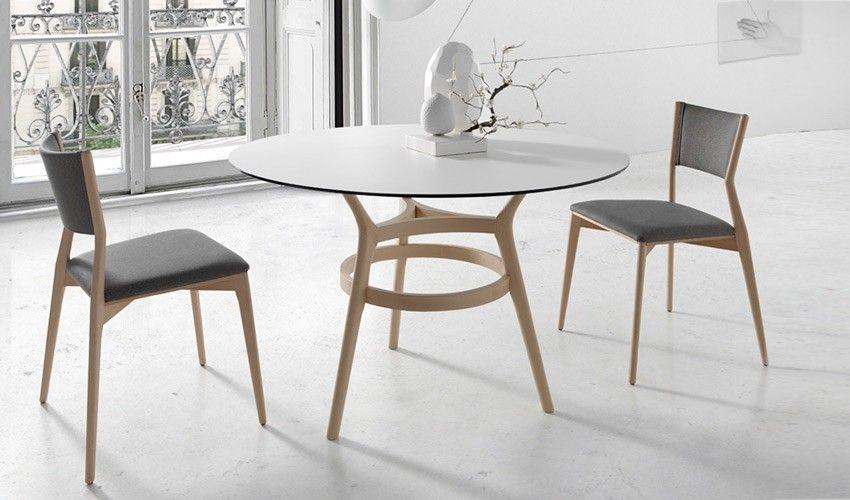 Mesa comedor redonda con Tapa cerámica con originales patas de ...