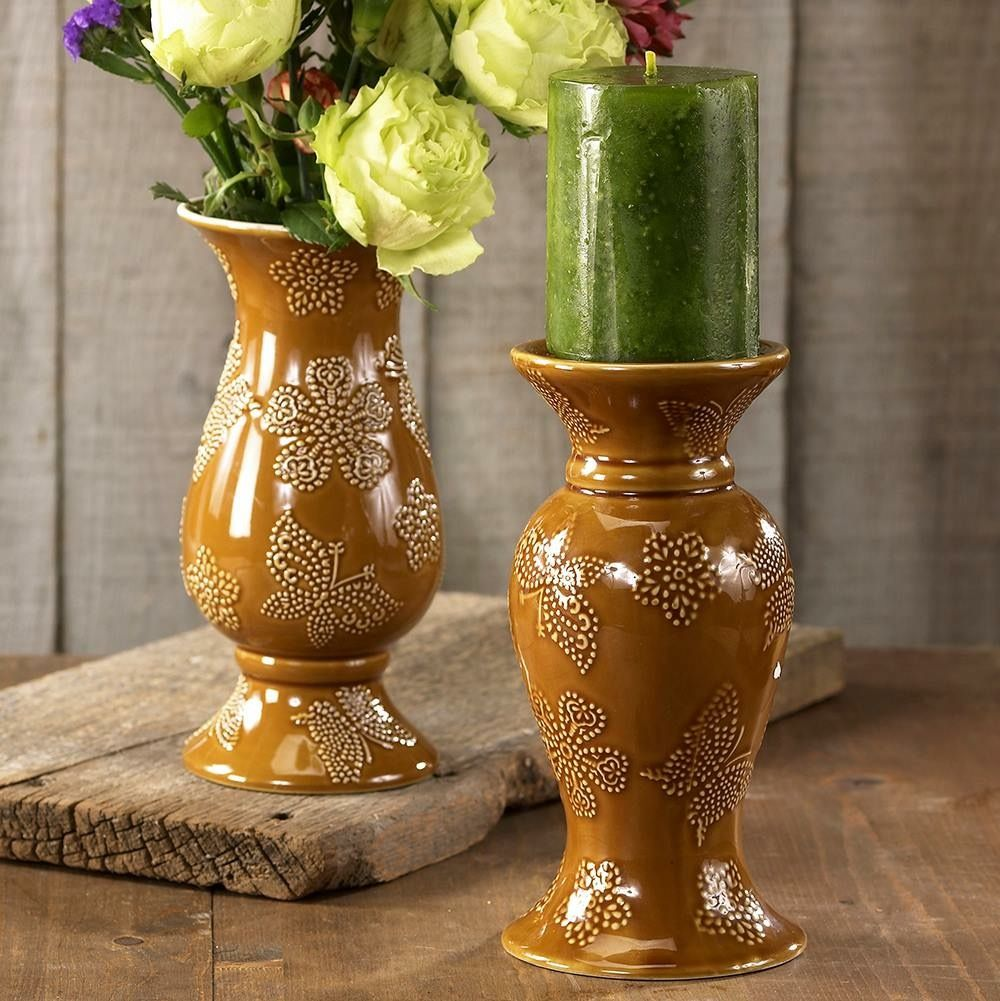 All a flutter flowers u flames in amber includes one candlestick