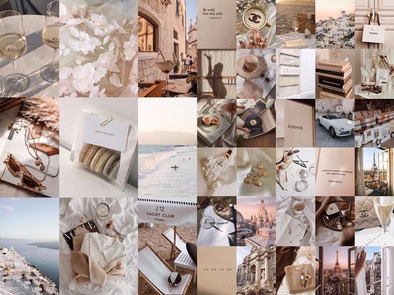 beige vibes vsco aesthetic wall collage 45pcs digital