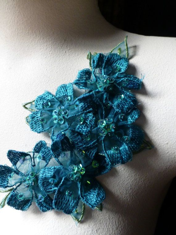 Beaded Lace Applique in Aquamarin for Sashes by MaryNotMartha