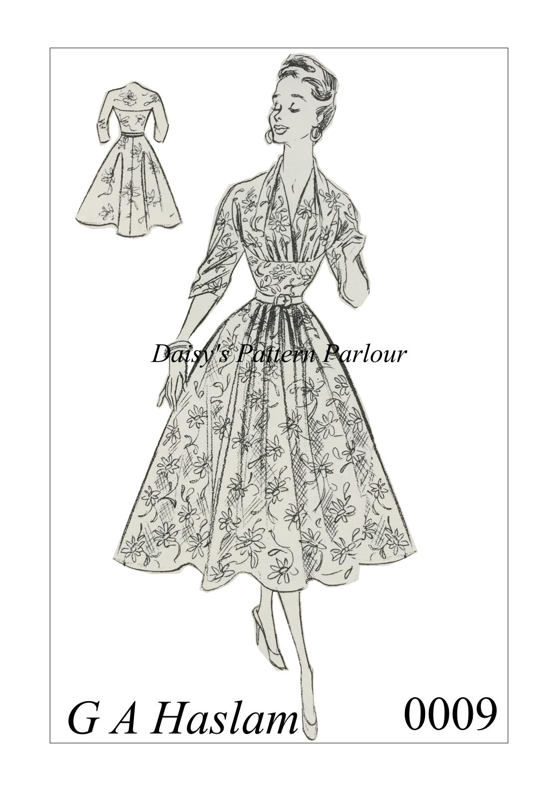 Vintage Sewing Pattern 1950s Rockabilly Dress Full Skirt Haslam ...