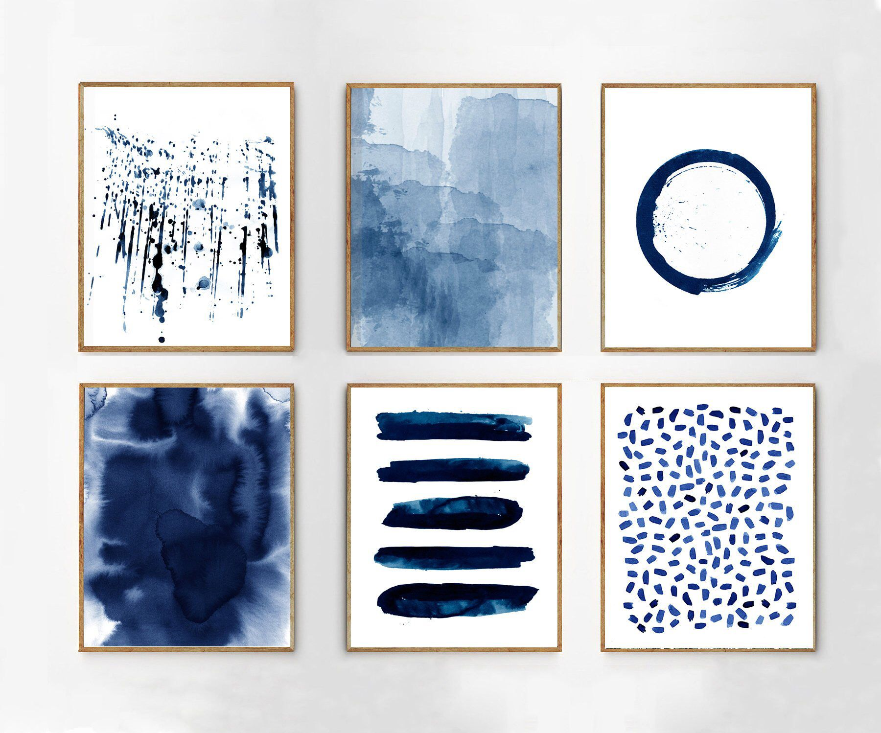 Abstract watercolor prints set of blue wall art minimalist art
