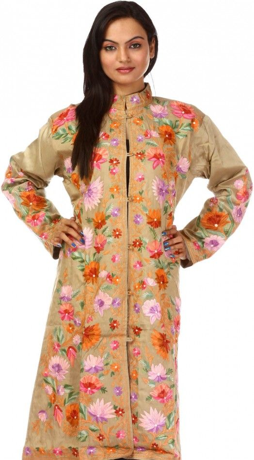7512dee541 Nomad-Beige Kashmiri Jacket with All-Over Floral Embroidery | Cute ...
