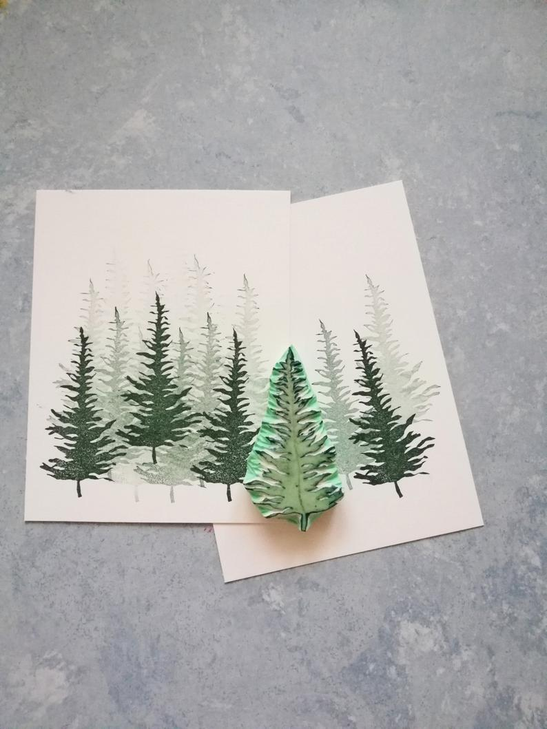 Pine tree rubber stamp, Christmas scenery tree, Winter time craft, vintage woodland decor, forest plant design, cottage nature decor