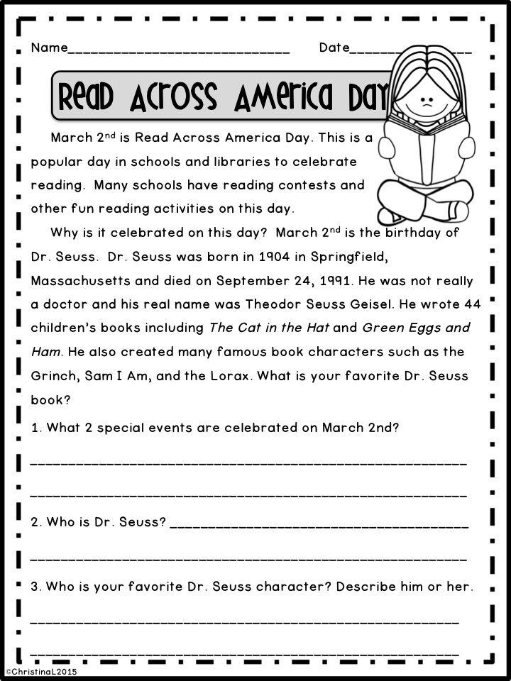 March Reading Comprehension Passages   Pinterest