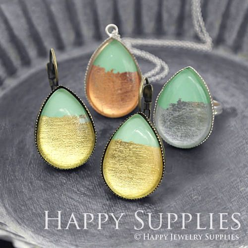 Handmade Golden Silver Rose Gold Foil Light Green Teardrop Glass