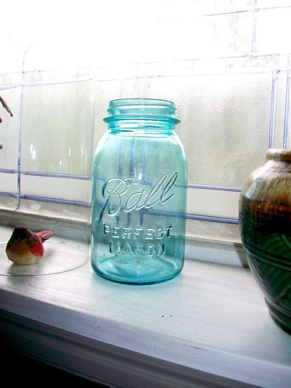 Vintage Ball Jar Blue Perfect Mason Jar Quart 1923-1933