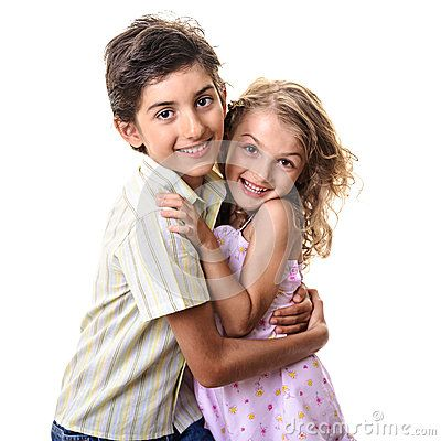 Little Boy And Girl Hugging Smiling Concept Of Family Love And