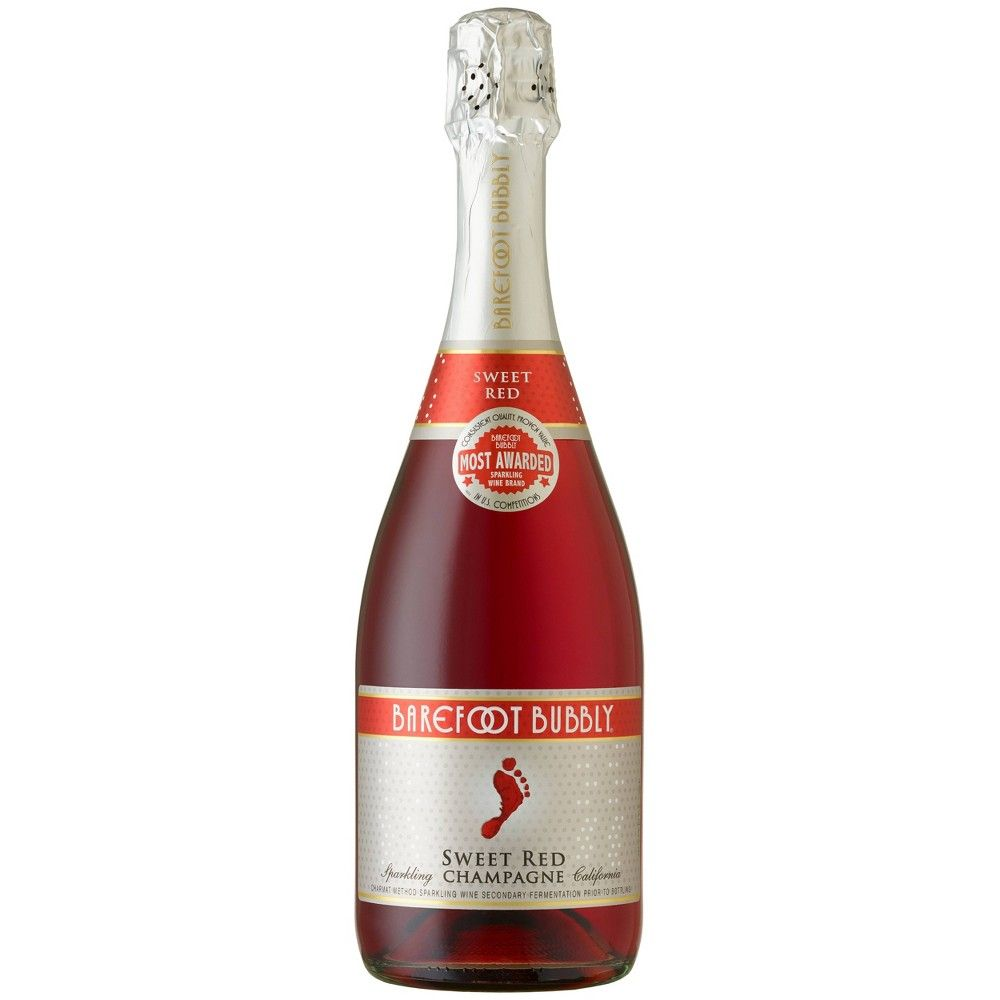 Barefoot Bubbly Red Sparkling Champagne Wine 750ml Bottle In 2020 Barefoot Bubbly Sparkling Red Wine Red Champagne