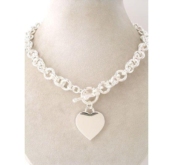 da401b8f2 Just like Tiffany Jewelry Chunky Bold Silver Plated Chain Heart Charm  Necklace $37.99 #tiffany co #Jewelry