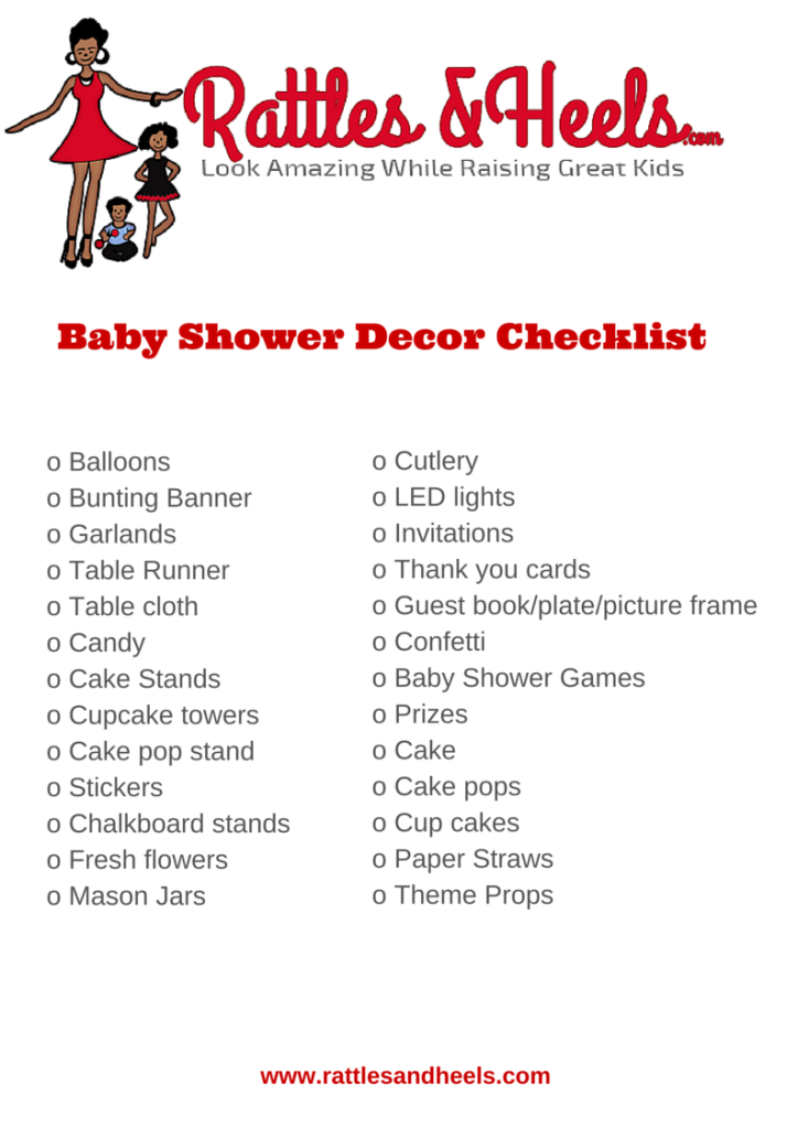 Fabulous Baby Shower Decorations Checklist Printable  Babies
