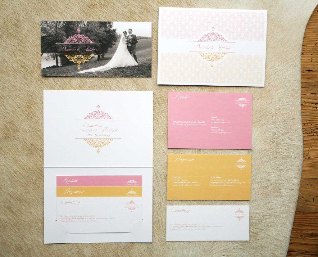 Einladung Hochzeit Rosa Orange Steckkarten Huelle