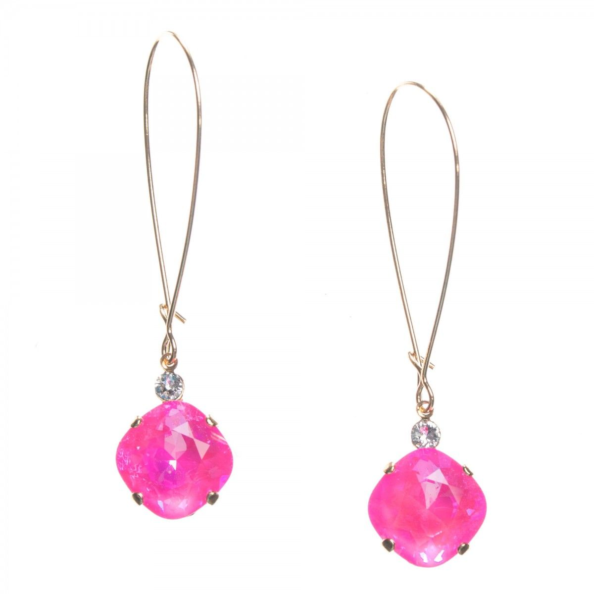Clara Beau Gold Ultra Pink Crystal Long Drop Earrings