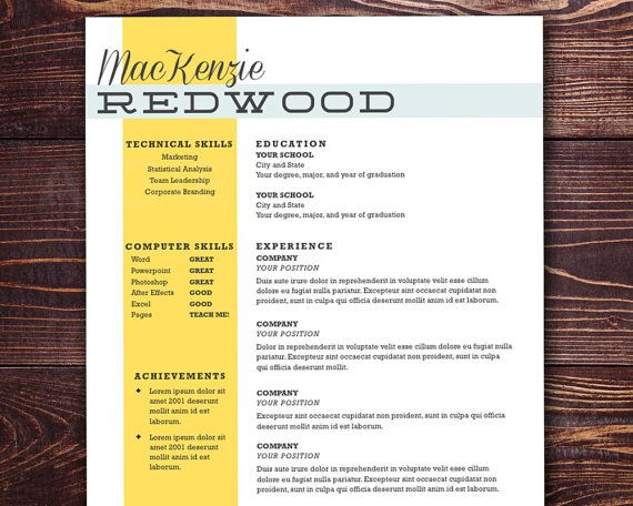 The Redwood Resume - Customizable resume template for word and - pages resume template