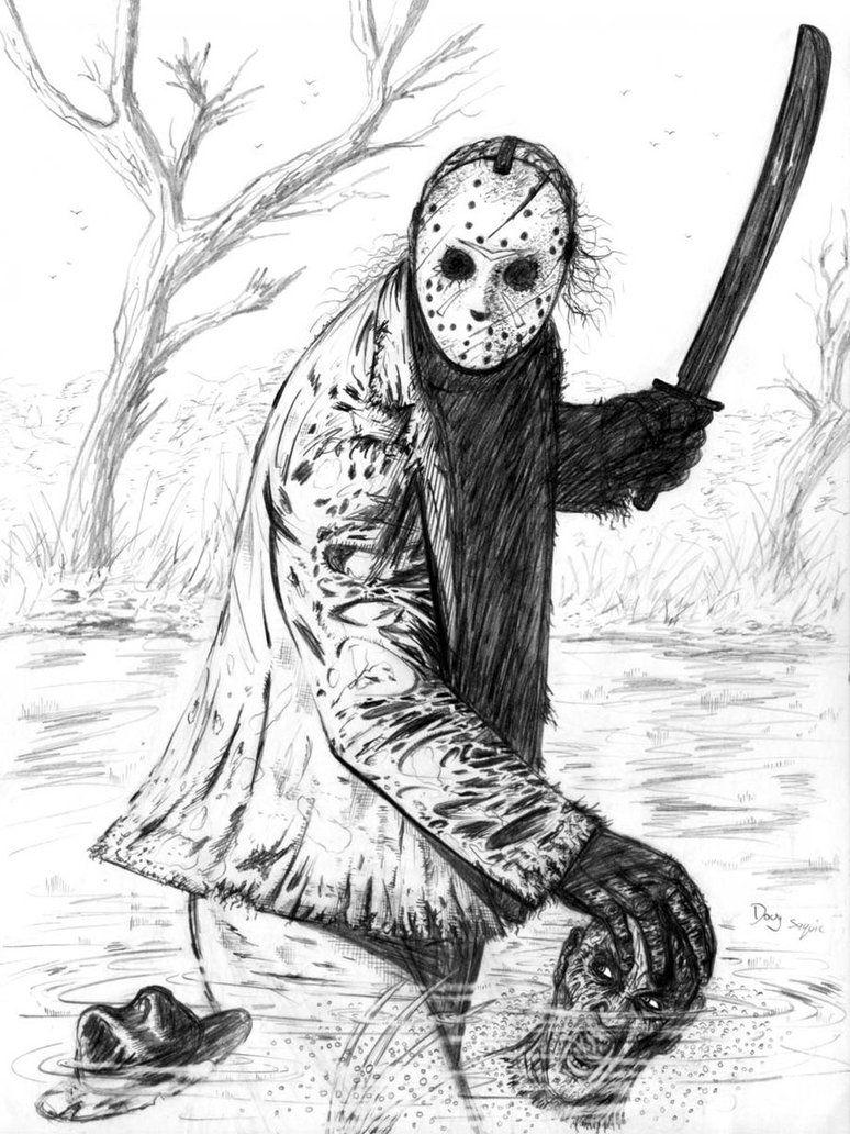 Jason Friday The 13th Drawing : jason, friday, drawing, Freddy, Jason, DougSQ, DeviantART, Krueger, Drawing,, Voorhees, Drawing