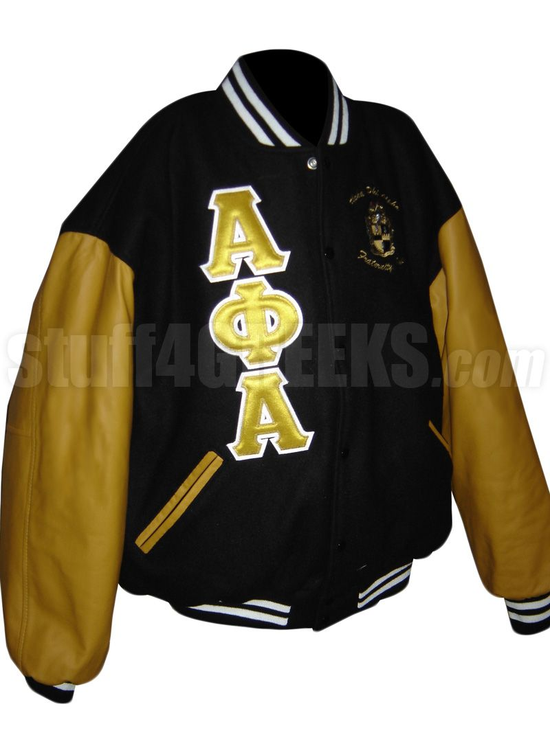 Alpha phi alpha greek letter varsity letterman jacket with crest alpha phi alpha greek letter varsity letterman jacket with crest black with old gold sleeves embroidered with lifetime guarantee black alpha phi alpha biocorpaavc Images