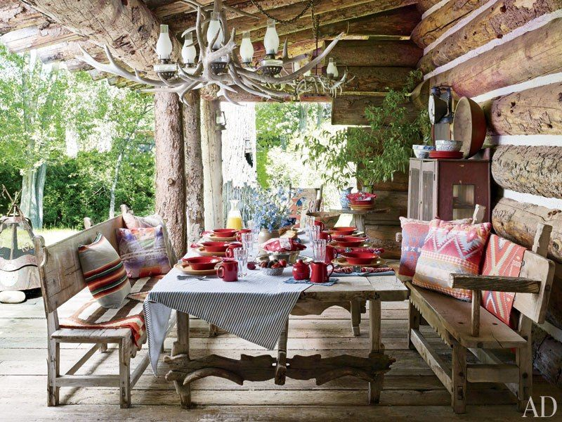 Ralph Lauren S Refined Houses And Chic Madison Avenue Office Rustic Outdoor Spaces Rustic Porch Colorado Ranch