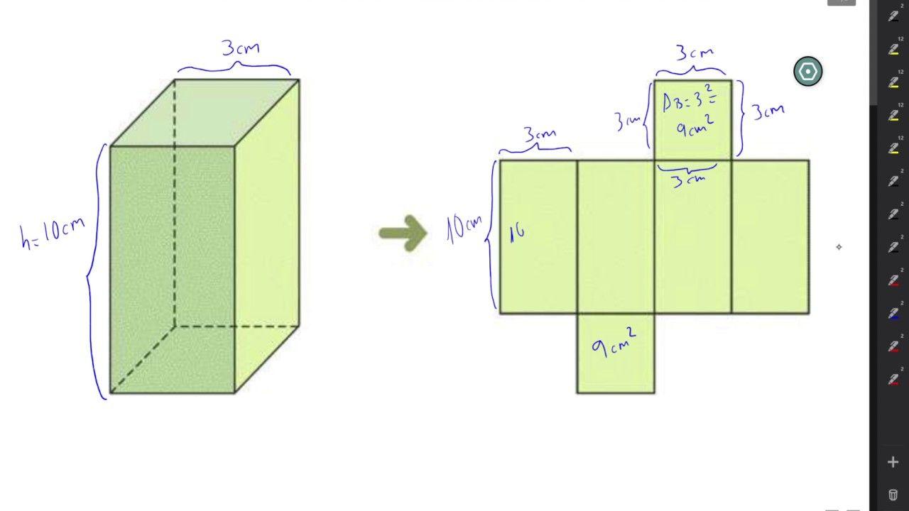 C  mo calcular el   rea y volumen de un Prisma cuadrangular   Geometria      Diagram