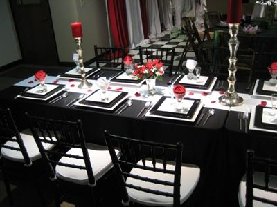 Table setting in awards room. Black White and Red Wedding & Black White and Red Wedding | Mr. and Mrs. Young | Pinterest | Red ...