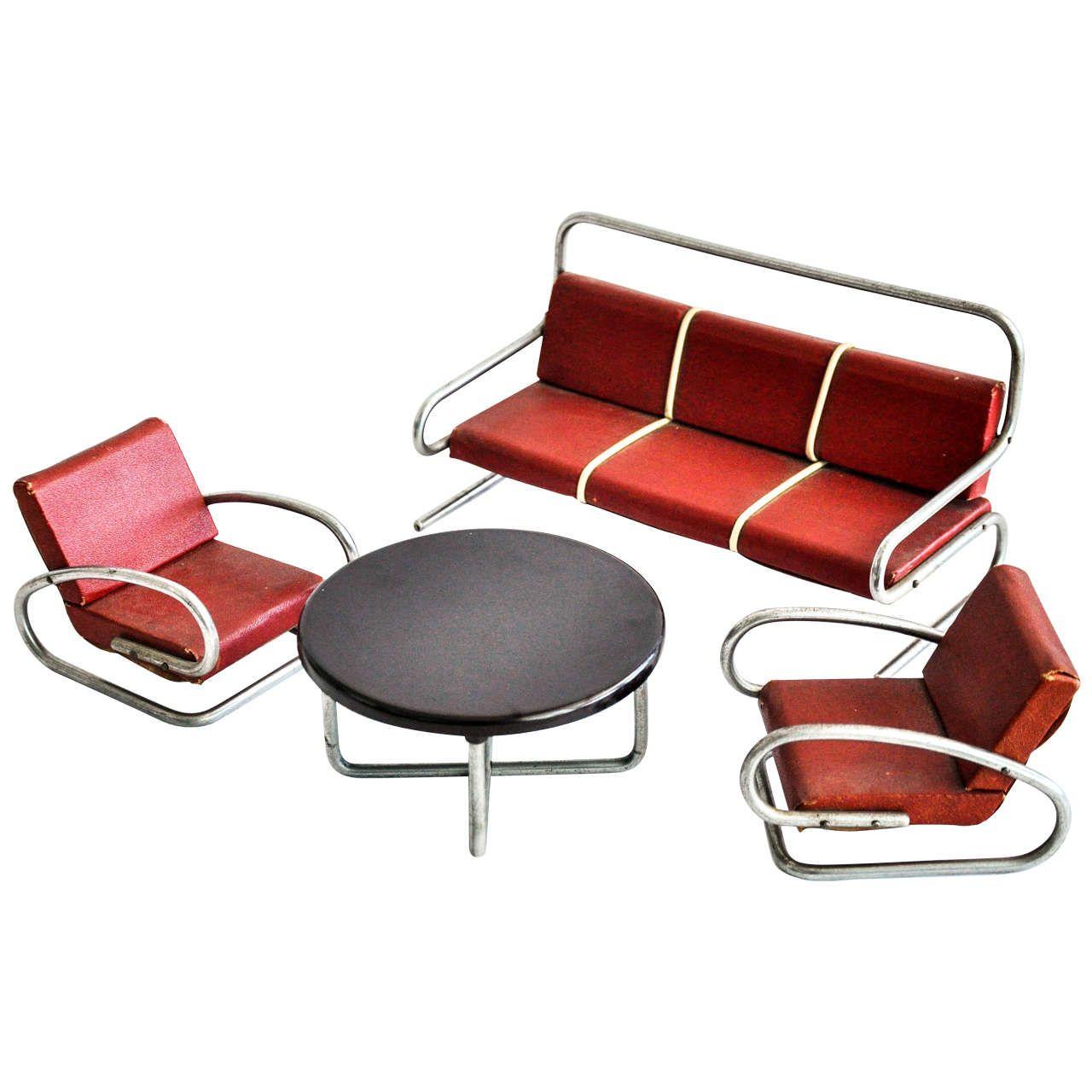 Bauhaus tubular steel lounge chair at 1stdibs - For Sale On A Four Piece Set Of Miniature Tubular Furniture Attributed To The Czech Designer Jindrich Halabala Halabala Was A Modernist Czech Furniture