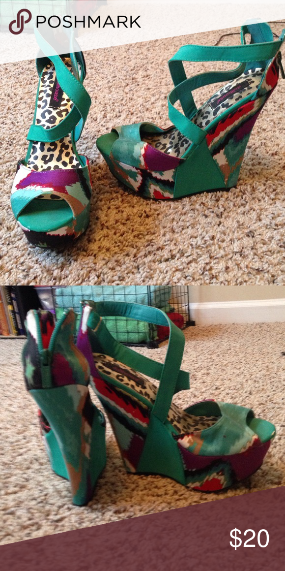 "Funky multicolored wedges Super fun and funky! **NEVER WORN** heel height is about 6"" with a 2"" platform in the front Shoes Wedges"