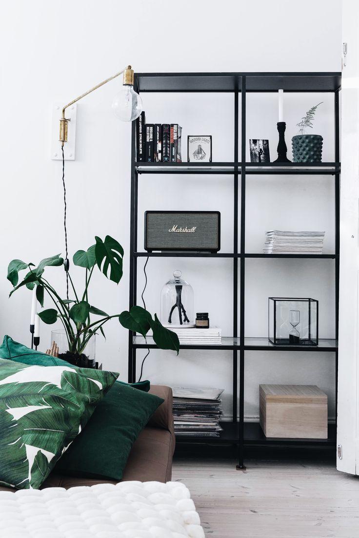 black white green living room colors book shelf marshall | HOME ...